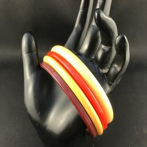 Vintage Bakelite bangles set of four fall colors